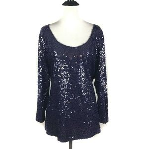 Calvin Klein Sequins Purple Blouse Stretchy 1X